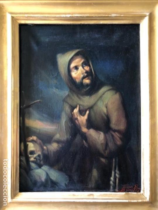 ÓLEO SOBRE TELA, SAN FRANCISCO DE ASIS, FIRMADO JUAN R. BENITEZ, PRIMEROS SIGLO XX, ESC. SEVILLANA ? (Arte - Arte Religioso - Pintura Religiosa - Oleo)