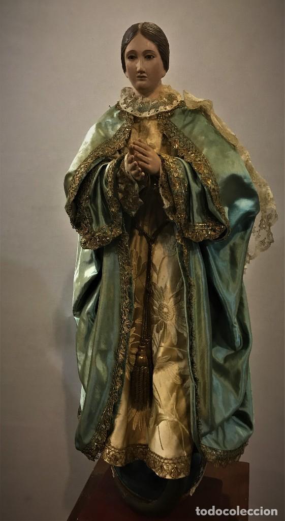 GRAN INMACULADA, CAP I POTA CON PRECIOSOS ROPAJES PP. S. XIX (Arte - Arte Religioso - Escultura)