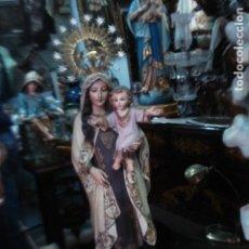 Kunst - Barbara y Marce Virgen del Carmen talla de madera con corona firmada - 119330943