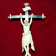 Arte: PRECIOSO CRISTO JANSENISTA TALLA HUESO EN UNA PIEZA. Lote 119381279