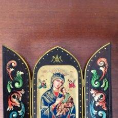 Arte: TRÍPTICO RELIGIOSO VIRGEN CON EL NIÑO. Lote 119390680