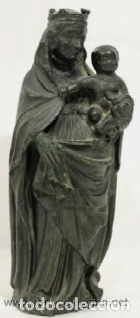 VIRGEN CON NIÑO - IMAGEN RELIGIOSA EN BRONCE - ESCUELA ESPAÑOLA SIGLO XIX (Arte - Arte Religioso - Escultura)