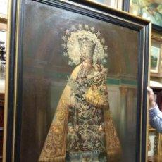 Arte: ANTIGUA LITOGRAFIA SOBRE LIENZO VIRGEN DE LOS DESAMPARADOS. Lote 119463463