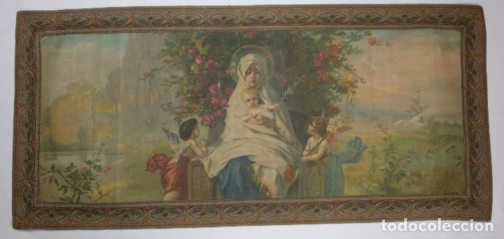 TELA RELIGIOSA PINTADA A MANO VIRGEN CON NIÑO FINALES SIGLO XIX (Arte - Arte Religioso - Pintura Religiosa - Oleo)