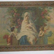 Arte: TELA RELIGIOSA PINTADA A MANO VIRGEN CON NIÑO FINALES SIGLO XIX. Lote 119481879