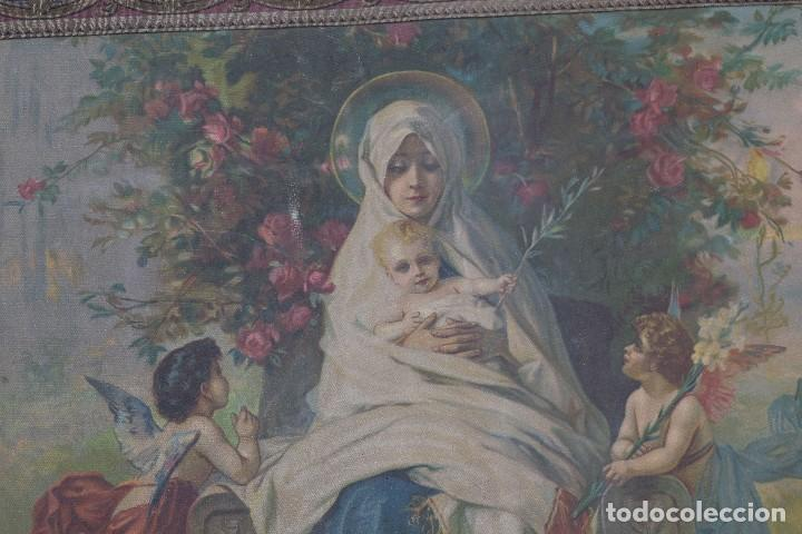Arte: Tela religiosa pintada a mano Virgen con niño finales siglo XIX - Foto 2 - 119481879