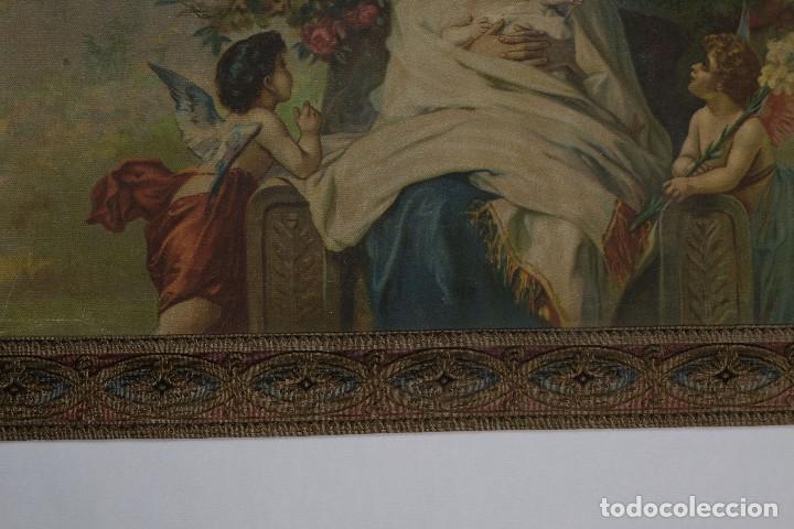 Arte: Tela religiosa pintada a mano Virgen con niño finales siglo XIX - Foto 3 - 119481879