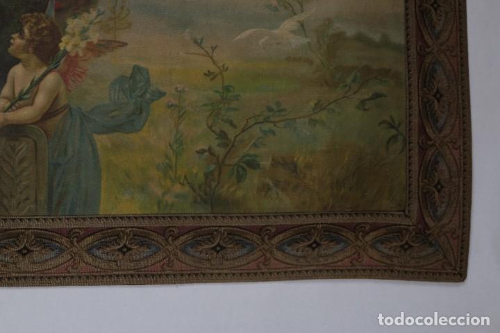Arte: Tela religiosa pintada a mano Virgen con niño finales siglo XIX - Foto 6 - 119481879
