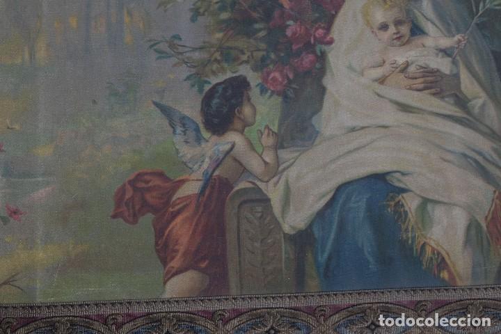 Arte: Tela religiosa pintada a mano Virgen con niño finales siglo XIX - Foto 8 - 119481879