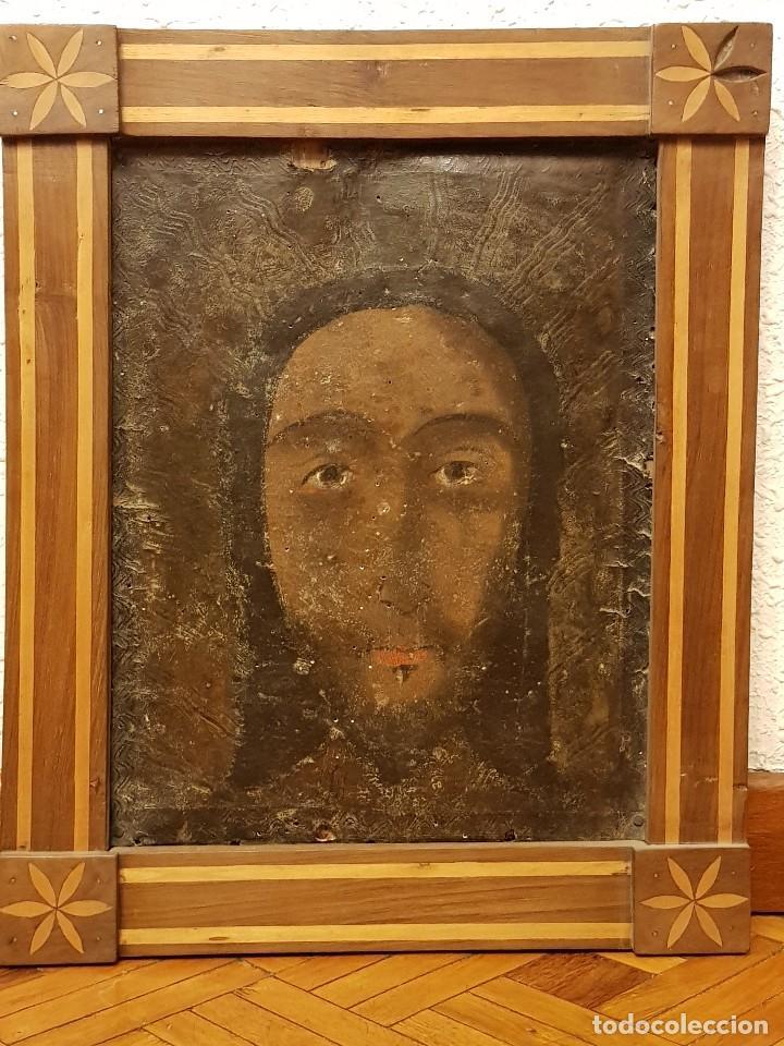PINTURA SOBRE CUERO REPUJADO. CORDOBÁN DE LA SANTA FAZ. ESCUELA ESPAÑOLA SIGLO XVI (Arte - Arte Religioso - Pintura Religiosa - Otros)