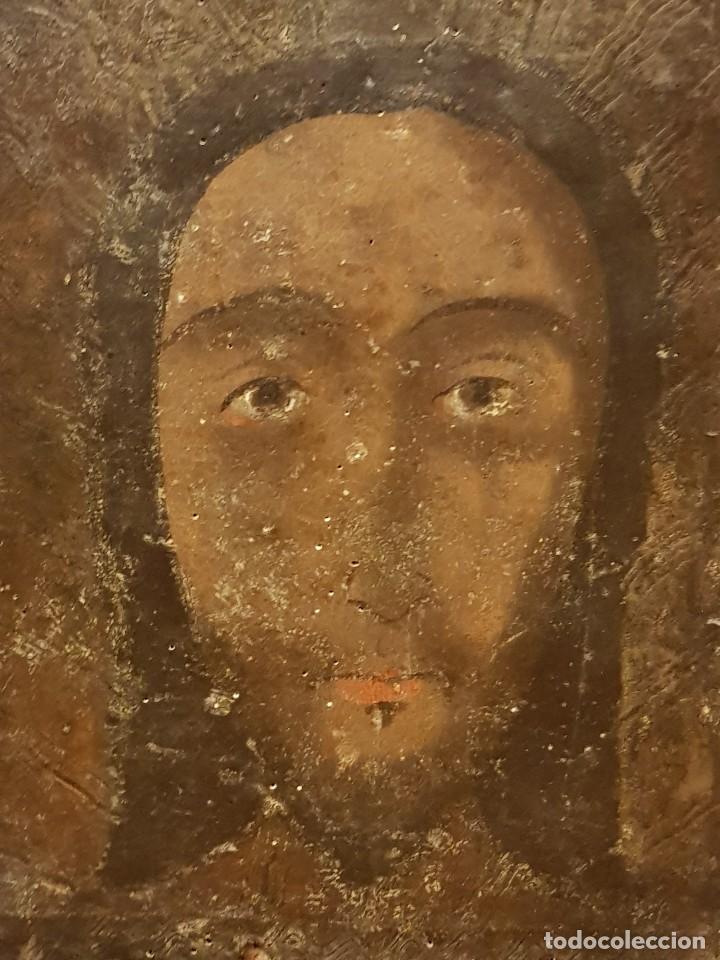 Arte: Pintura sobre cuero repujado. Cordobán de la Santa Faz. Escuela española siglo XVI - Foto 2 - 119484439