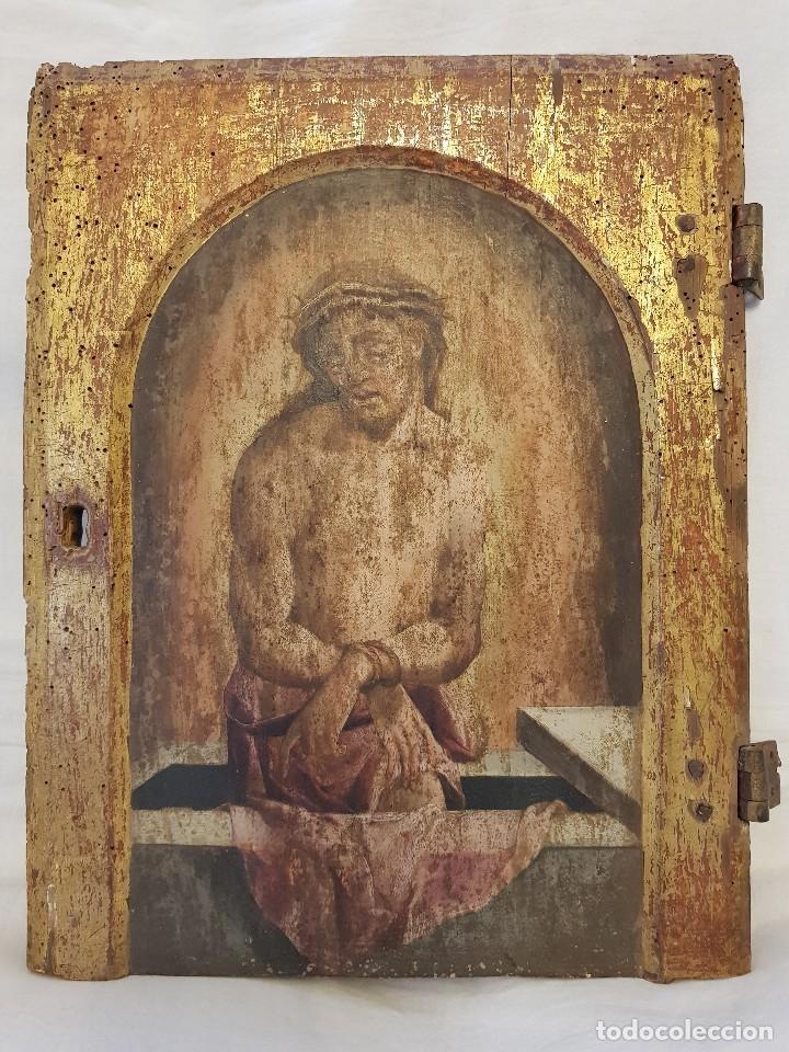 ÓLEO SOBRE TABLA DE ROBLE. PUERTA DE SAGRARIO. RESURRECCIÓN DE CRISTO. ESCUELA ESPAÑOLA. S. XVI-XVII (Arte - Arte Religioso - Pintura Religiosa - Oleo)