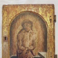 Arte: ÓLEO SOBRE TABLA DE ROBLE. PUERTA DE SAGRARIO. RESURRECCIÓN DE CRISTO. ESCUELA ESPAÑOLA. S. XVI-XVII. Lote 119485299