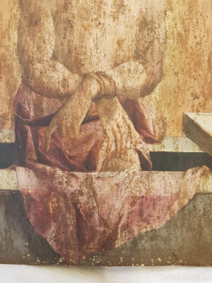 Arte: Óleo sobre tabla de roble. Puerta de sagrario. Resurrección de Cristo. Escuela española. S. XVI-XVII - Foto 2 - 119485299