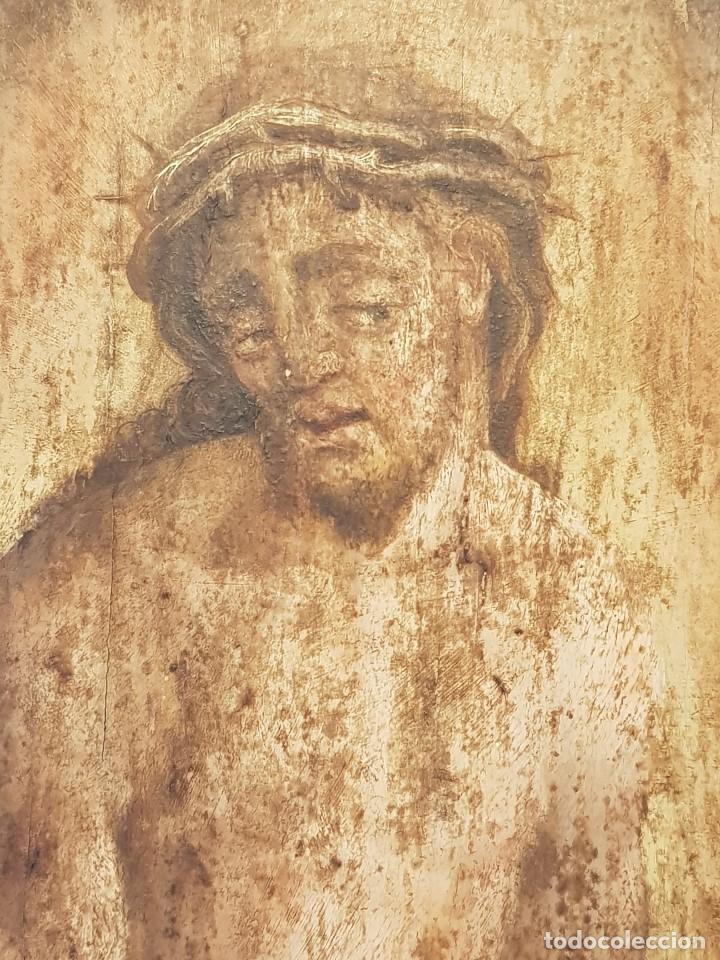 Arte: Óleo sobre tabla de roble. Puerta de sagrario. Resurrección de Cristo. Escuela española. S. XVI-XVII - Foto 3 - 119485299