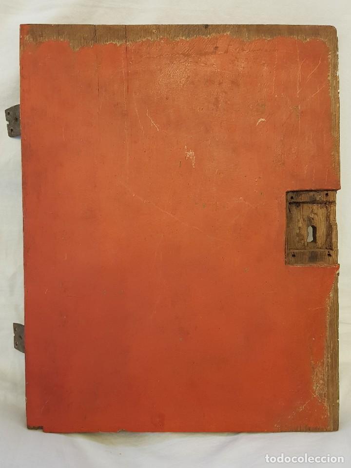 Arte: Óleo sobre tabla de roble. Puerta de sagrario. Resurrección de Cristo. Escuela española. S. XVI-XVII - Foto 11 - 119485299