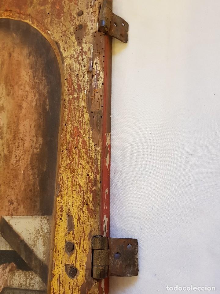 Arte: Óleo sobre tabla de roble. Puerta de sagrario. Resurrección de Cristo. Escuela española. S. XVI-XVII - Foto 10 - 119485299