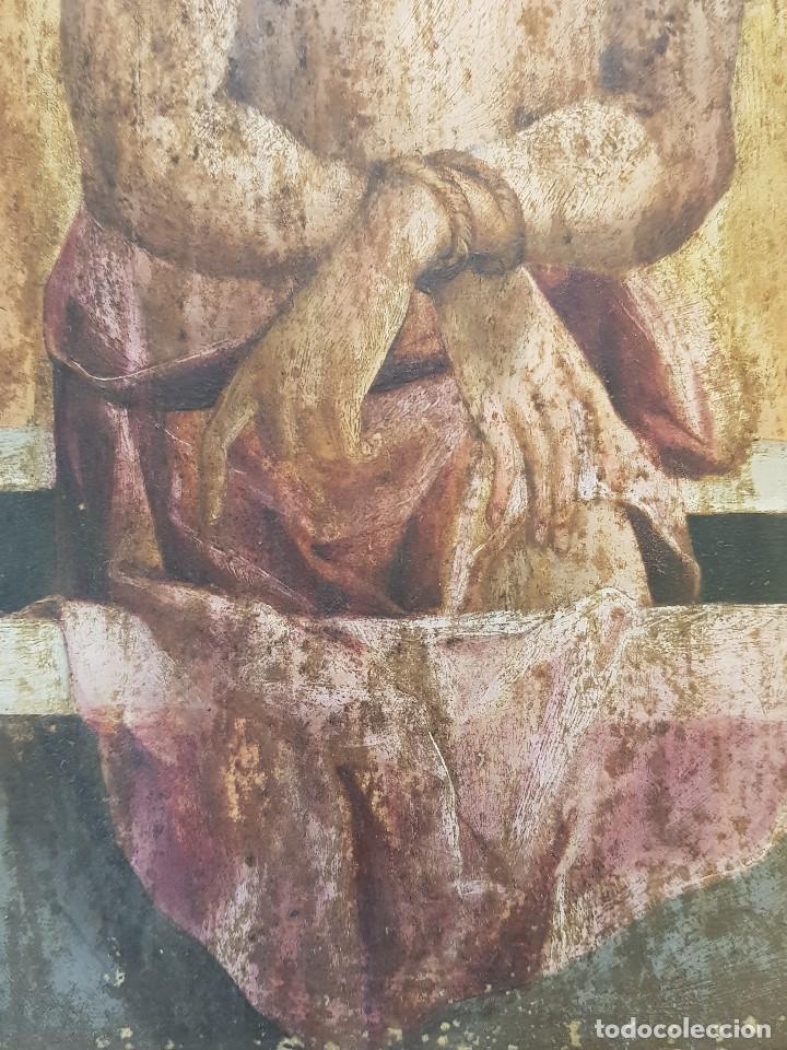 Arte: Óleo sobre tabla de roble. Puerta de sagrario. Resurrección de Cristo. Escuela española. S. XVI-XVII - Foto 4 - 119485299