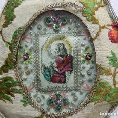 Arte: LIBRERIA GHOTICA. MARAVILLOSO EXVOTO DEL S. XVIII DE SAN LUCAS CON MARCO DE PLATA Y TELA. Lote 119506755