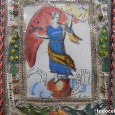 Arte: LIBRERIA GHOTICA. RARO COLGANTE DEL SIGLO XVIII CON EXVOTO Y EMBLEMA Y MARCO DE TELA.. Lote 119507059