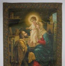 Arte: CROMOLITOGRAFIA RELIGIOSA ANTIGUA SOBRE TELA SAGRADA FAMILIA FINALES SIGLO XIX PRINCIPIOS SIGLO XX. Lote 119512755