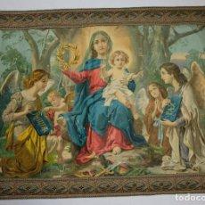 Arte: CROMOLITOGRAFÍA RELIGIOSA ANTIGUA SOBRE TELA VIRGEN CON NIÑO FINALES SIGLO XIX. Lote 119512771