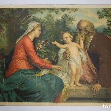 Arte: CROMOLITOGRAFÍA ANTIGUA RELIGIOSA SAGRADA FAMILIA FINALES SIGLO XIX ITALIA. Lote 119512787