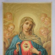 Arte: CROMOLITOGRAFIA RELIGIOSA ANTIGUA DOBRE TELA SAGRADO CORAZÓN FINALES SIGLO XIX. Lote 119512799