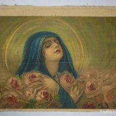 Arte: CROMOLITOGRAFÍA RELIGIOSA ANTIGUA SOBRE TELA IMAGEN VIRGEN FINALES SIGLO XIX. Lote 119513807