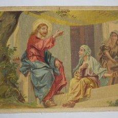 Arte: CROMOLITOGRAFÍA RELIGIOSA ANTIGUA SOBRE TELA ESCENA BÍBLICA FINALES SIGLO XIX. Lote 119513823