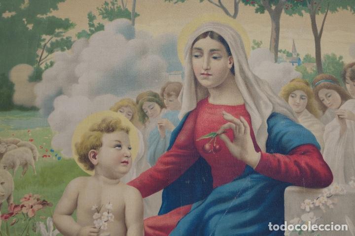Arte: Cromolitografía religiosa antigua sobre tela Virgen con niño principios siglo XX Italia - Foto 2 - 119513827