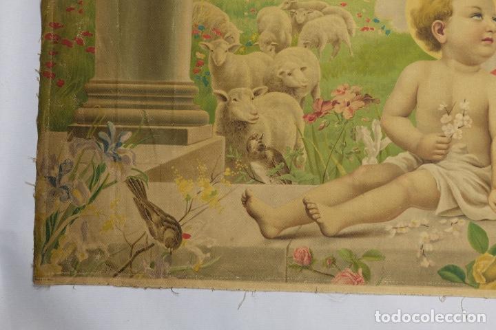 Arte: Cromolitografía religiosa antigua sobre tela Virgen con niño principios siglo XX Italia - Foto 3 - 119513827
