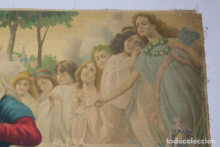 Arte: Cromolitografía religiosa antigua sobre tela Virgen con niño principios siglo XX Italia - Foto 5 - 119513827