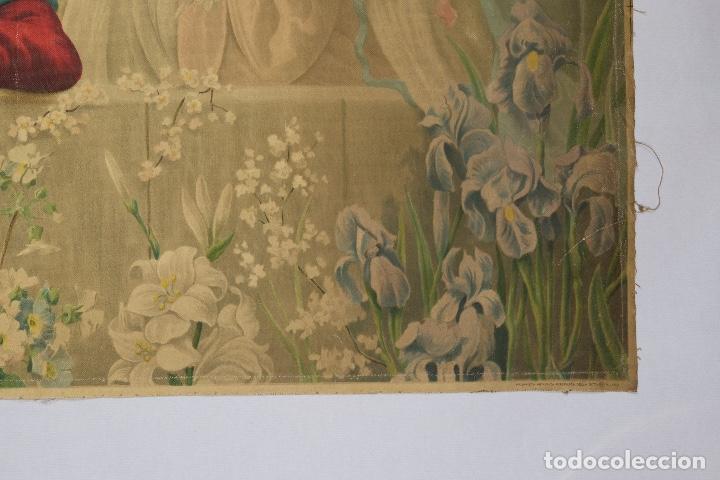 Arte: Cromolitografía religiosa antigua sobre tela Virgen con niño principios siglo XX Italia - Foto 6 - 119513827