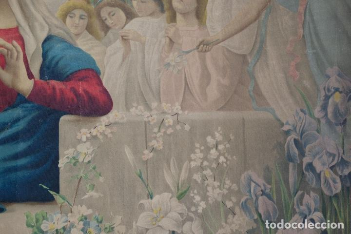 Arte: Cromolitografía religiosa antigua sobre tela Virgen con niño principios siglo XX Italia - Foto 7 - 119513827