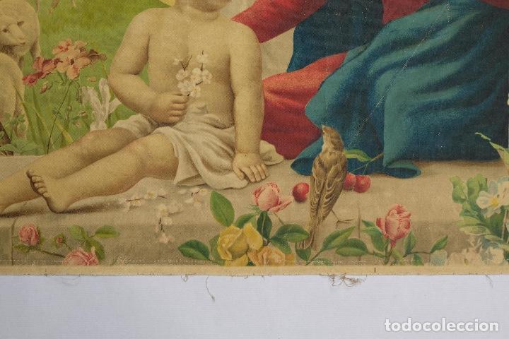 Arte: Cromolitografía religiosa antigua sobre tela Virgen con niño principios siglo XX Italia - Foto 8 - 119513827