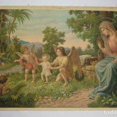 Arte: CROMOLITOGRAFÍA RELIGIOSA ANTIGUA SOBRE TELA VIRGEN NIÑO Y ÁNGELES FINALES SIGLO XIX ITALIA. Lote 119514403