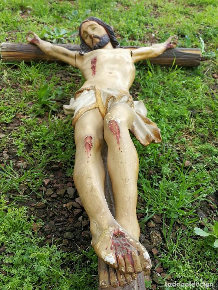 ESPECTACULAR ESCULTURA GRAN TAMAÑO TALLA POLICROMADA MADERA JESUCRISTO EN CRUZ Y PEANA,S.XIX 144X80. (Arte - Arte Religioso - Escultura)
