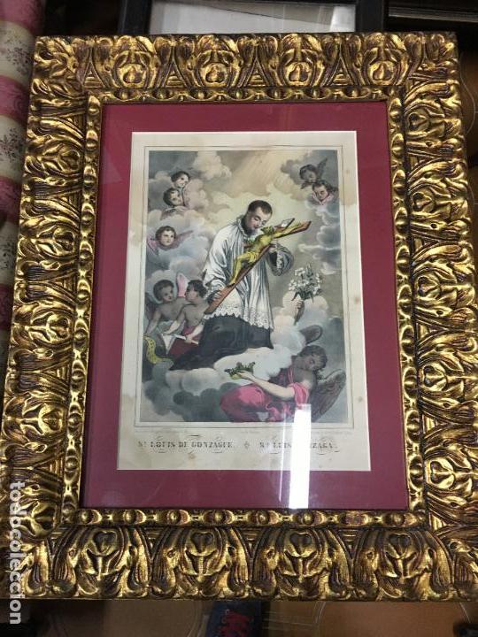 ANTIGUO GRABADO COLOREADO DE SAN LUIS DE GONZAGA - MEDIDA MARCO 52,5X42,5 CM - RELIGIOSO (Arte - Arte Religioso - Grabados)