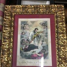 Arte: ANTIGUO GRABADO COLOREADO DE SAN LUIS DE GONZAGA - MEDIDA MARCO 52,5X42,5 CM - RELIGIOSO. Lote 119559611