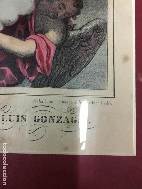 Arte: ANTIGUO GRABADO COLOREADO DE SAN LUIS DE GONZAGA - MEDIDA MARCO 52,5X42,5 CM - RELIGIOSO - Foto 5 - 119559611