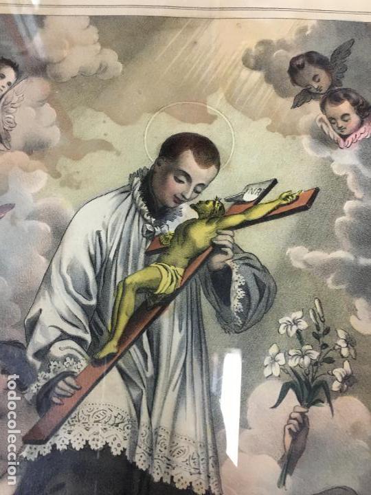 Arte: ANTIGUO GRABADO COLOREADO DE SAN LUIS DE GONZAGA - MEDIDA MARCO 52,5X42,5 CM - RELIGIOSO - Foto 6 - 119559611