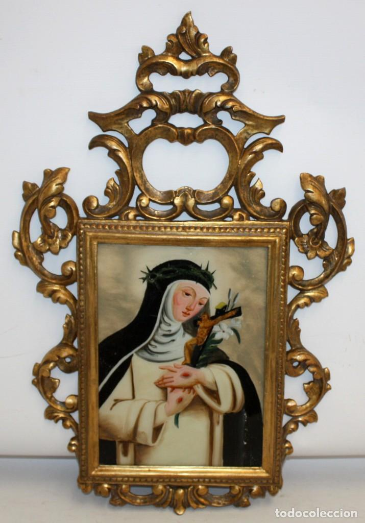SANTA CATALINA DE SIENA PINTADA BAJO VIDRIO DE FINALES DEL SIGLO XVIII CON CORNUCOPIA ORIGINAL (Arte - Arte Religioso - Pintura Religiosa - Otros)