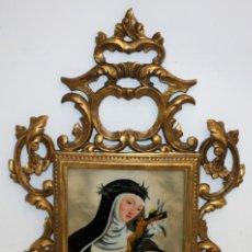 Arte: SANTA CATALINA DE SIENA PINTADA BAJO VIDRIO DE FINALES DEL SIGLO XVIII CON CORNUCOPIA ORIGINAL. Lote 121248174