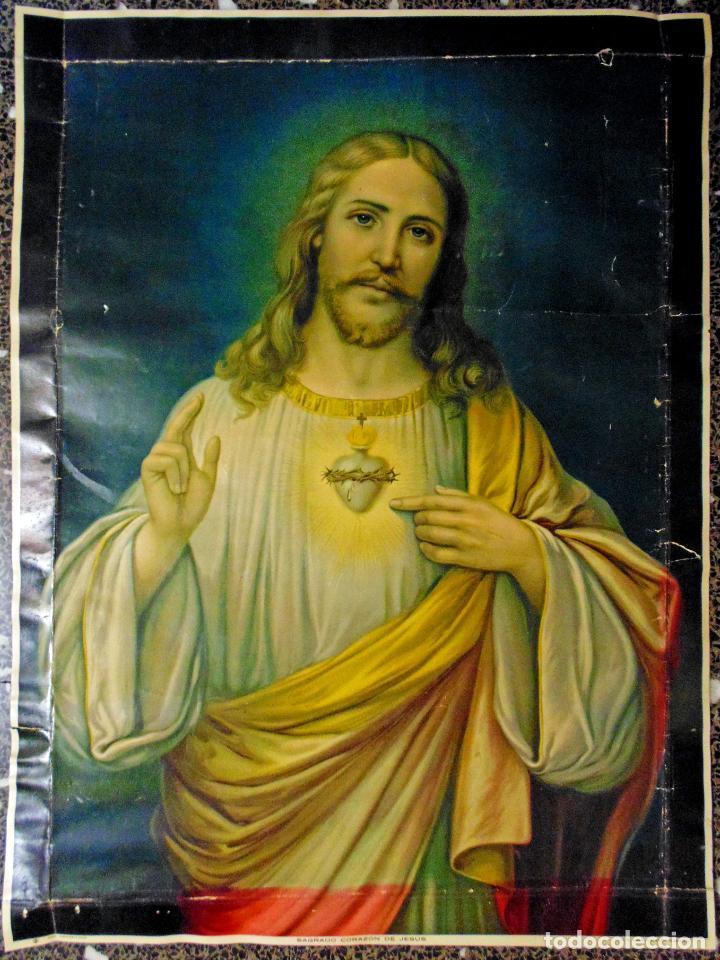 ANTIGUA LITOGRAFIA DE SIGLO XIX - SAGRADO CORAZON DE JESUS - LIT. S. DURA.VALENCIA.TAMAÑO 76X56 CMS (Arte - Arte Religioso - Litografías)