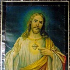 Arte: ANTIGUA LITOGRAFIA DE SIGLO XIX - SAGRADO CORAZON DE JESUS - LIT. S. DURA.VALENCIA.TAMAÑO 76X56 CMS. Lote 119756911