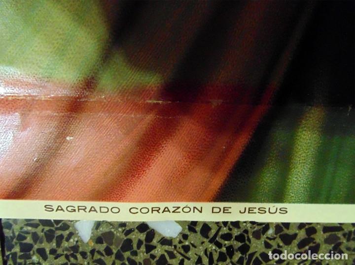 Arte: ANTIGUA LITOGRAFIA DE SIGLO XIX - SAGRADO CORAZON DE JESUS - LIT. S. DURA.VALENCIA.TAMAÑO 76X56 CMS - Foto 5 - 119756911