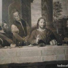 Arte: GRABADO DE JESÚS EN EL CASTILLO DE EMAÚS. MARCO ANTIGUO. 62 X 52 CM. MARTÍNEZ APARICI. Lote 120099747