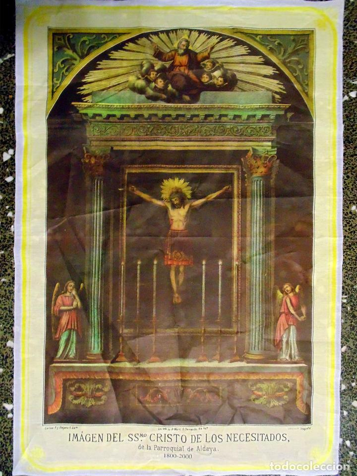 LITOGRAFIA RELIGIOSA SOBRE TELA DE -IMAGEN DE SSMO.CRISTO DE LOS NECESITADOS- P.ALDALLA. CARLOS F.Y (Arte - Arte Religioso - Litografías)