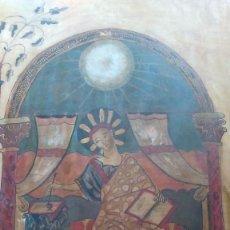 Arte: PINTURA A LA TÉMPERA SOBRE TABLA REPRESENTANDO A SAN JUAN ESCRIBIENDO. FIRMADO Y FECHADO. Lote 120192855